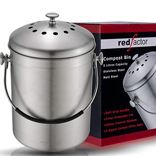 RED FACTOR Deluxe Kompostbehälter Küche Aus Edelstahl Geruchlos - Bio Mülleimer - Inklusive 6 Kostenlosen Aktivkohlefiltern (Matt Stahl, 5 Liter)