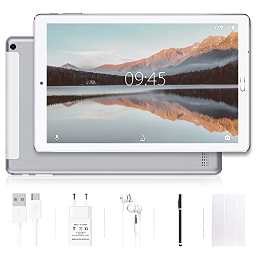 Tablet 10 pollici YESTEL Tablet Android 10.0 con 4 GB di RAM + 64 GB di ROM - WiFi | Bluetooth | GPS, 8000mAH con Cover-Argento