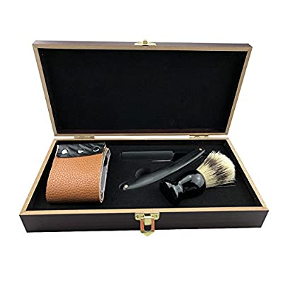 Cut Razor Set,Classic Collection Vintage Wooden Box Straight Cut Throat Wooden Shaving Razor with Hair Shaving Brush Natural Tan Cow Leather Strop