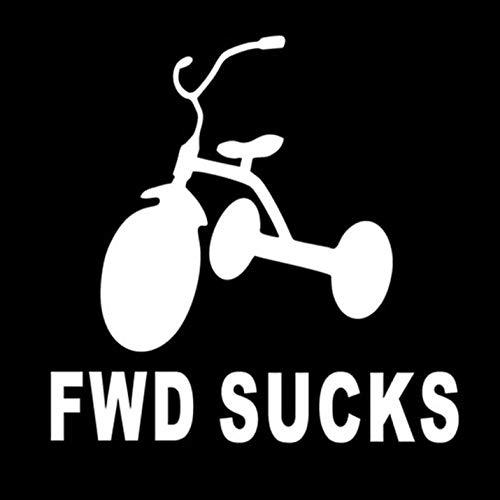 Auto Autoaufkleber Aufkleber FWD SAUGT Fahrrad Vorderradantrieb Autoaufkleber Aufkleber Spaß Auto Styling 12,5 * 12,5 cm 2 Stk