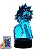 Anime My Hero Academia Kaminari Denki Cartoons 3D Illusion Night Light,LED Table Desk Lamps,Touch/Remote Control USB/Battery Charge Lighting Bedroom Home Decor,Christmas Decor Lights (Black Remote)