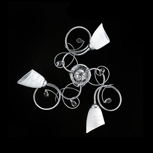 Moderne Deckenleuchte Chrom mit Kristallen und satiniertem Glas, 3 Lichter
