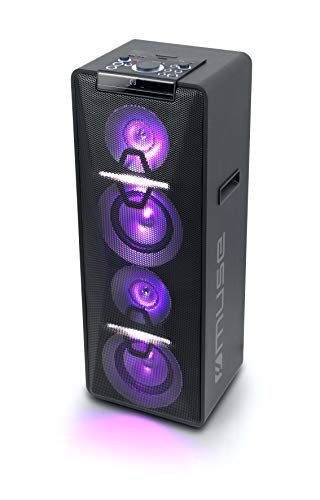 Muse M-1950 DJ PA-installatie 500 watt, met CD, Bluetooth en lichteffecten (USB, AUX, microfoon, afstandsbediening), zwart