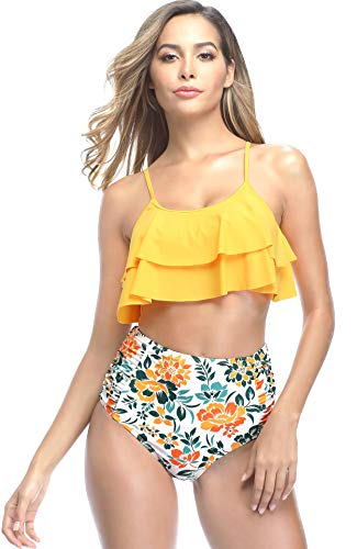 SHEKINI Dames Tweedelige Ouder-kind Bikini Set Schattig Volants Verstelbaar Bikini Bovendeel Retro Afdrukken Hoge Taille Bikini Broekje Meisje Strand Bikini Badpak