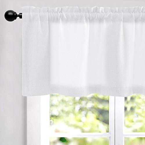 "White Valances for Windows Linen Textured Room Darkening for Living Room Window Curtain Rod Pocket Window Treatments 1 Panel 16"" L"