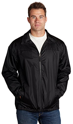 Equipment De Sport USA Men's Water Resistant Front Zip Lined Windbreaker Jackets Large Black