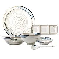陶磁器ディナーセット28点和風食器コンビネーションセット| レストランや家族の集まりのための磁器ステーキプレートとシリアルボウルセット