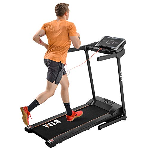 BTM Electric Treadmill, Hydraulic Folding Motorized Running Machine for Home/Office Use│USB & MP3 │12 Pre-Programs │Easy Assembly | 16KM/H│3-level adjustable incline