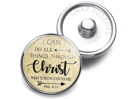 Choose a Color | All Things Through Christ Jesus Snap Jewelry 18MM SnapAccents Charm Button (Vintage)