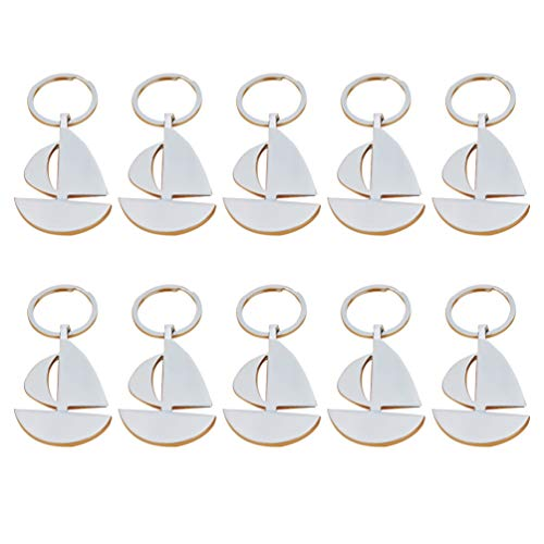 STOBOK 10pcs Segelboot Schlüsselanhänger Metall Segelboot Anhänger nautische Schlüsselringe Auto Beutelcharme für Kinder Erwachsene (Silber)