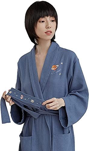 Pijama Bata de baño de toallas de algodón, bordado de chal absorbente unisex Bordado de bordados con cuello en V cinturón de bolsillo kimono Traje de encaje (Color : Blue, Size : S)