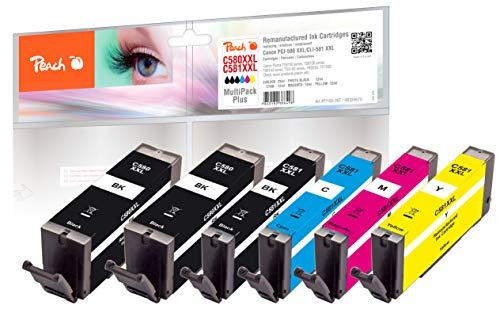Peach Spar Pack Plus Tintenpatronen XXL kompatibel zu Canon PGI-580XXL, CLI-581XXL, PI100-397, 2 x schwarz, Foto schwarz, Cyan, Magenta, gelb, Multi-Pack
