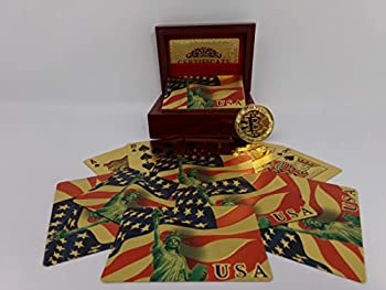 Big Texas Mall Gift Box with American Flag Gold Foil Plated Prestige Set 1 Deck Mahogany Gift/Display Box & 1 Gold Bitcoin Coin Professional Quality 24k Gold Poker Playing Cards w/Certificate