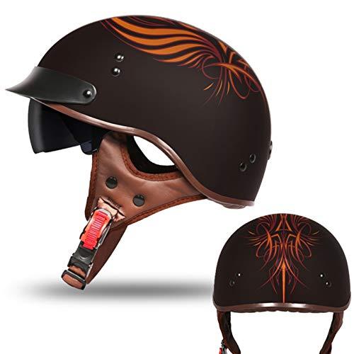 Casco Moto Abierto, Retro Cascos Moto Half Helmet Media Casco de Protección con Visera, ECE Homologado Casco Moto Jet para Scooter Mofa Crash (Color : H, Size : L=(59~60CM))