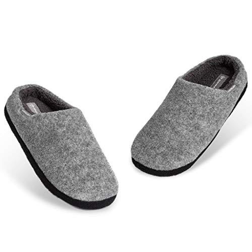 Dunlop Zapatillas Casa Hombre, Pantuflas Hombre De Forro Polar Suave, Zapatillas Hombre con Suela Antideslizante Interior Exterior, Regalos para Hombres y Chicos Adolescentes (Gris Claro, Numeric_46)