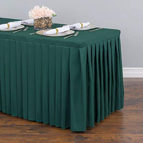 LinenTablecloth New Style Complete 14 ft. Table Skirt/4 Fitted Table Skirt Table Cover – No Top Cloth or Skirt Clips Needed. For Weddings, Banquets, Trade Shows, in 7 Colors! (Hunter Green)