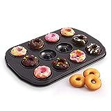 Z·Bling Molde Donuts con 12/6 cavidades Molde para donas para Hornear Estaño Acero al Carbón Muffin Pan Cup Bandeja de Pastel para Donuts Muffins Cupcakes Pie