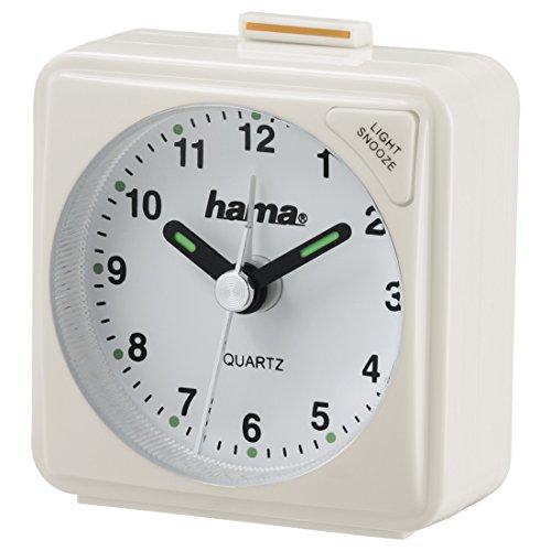 Hama Reise Wecker (selbstleuchtender Minuten- und Stundenzeiger, Hintergrundlicht, Snooze-Funktion, Speed-Alarm) weiß