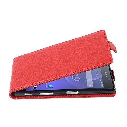 Cadorabo Hülle für Sony Xperia X Performance - Hülle in Inferno ROT – Handyhülle aus Strukturiertem Kunstleder im Flip Design - Hülle Cover Schutzhülle Etui Tasche