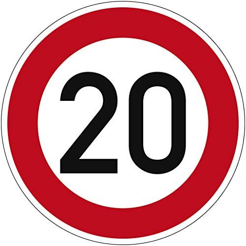 Verkehrszeichen Zulässige Höchstgeschwindigkeit 20 Nr. 274-20 | Ø 420mm, Alu 2mm, RA1 | Original Verkehrsschild nach StVO mit RAL Gütezeichen | Dreifke®