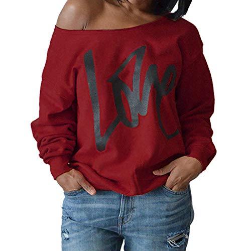 Shirt Damen Langarm Sexy Schulterfrei Locker Letter Print Leichte Luftig Sweatshirt...