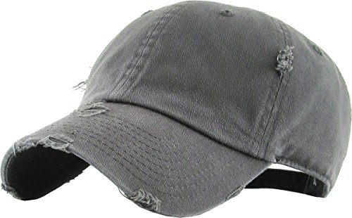 KBETHOS Vintage Washed Distressed Cotton Dad Hat Baseball Cap Adjustable Polo Trucker Unisex Style Headwear (Vintage) Dark Gray Adjustable