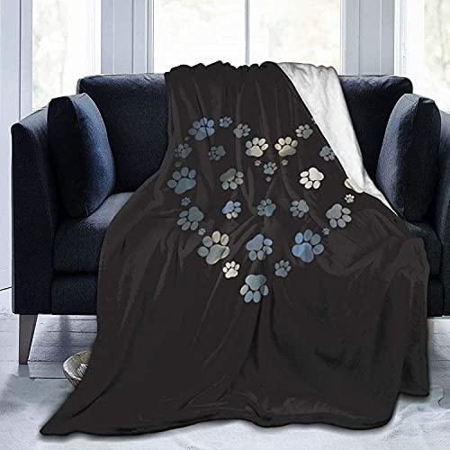 Manta de micro forro polar ultra suave, duradera, gris oscuro, diseño de corazón de patas, suave, cálida, para cama, sofá, oficina, sala de estar, decoración del hogar, 127 x 152 cm