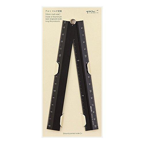 Midori 42254006 - Regla (aluminio, 30 cm), color negro