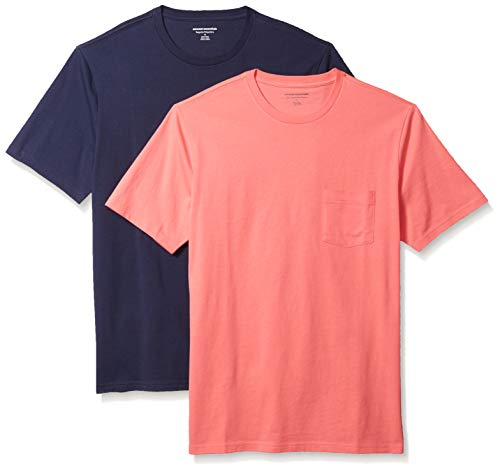 Amazon Essentials Men's 2-Pack Slim-Fit Short-Sleeve Crewneck Pocket T-Shirt, Coral/Dark Navy, Large