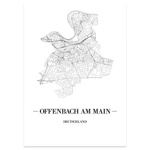 JUNIWORDS Stadtposter - Wähle Deine Stadt - Offenbach am Main - 21 x 30 cm Poster - Schrift A - Weiß
