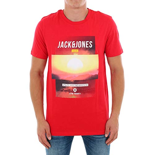 Jack & Jones T-Shirt Camiseta, Ajuste: Slim - Friday Tea Chinese Red, L para Hombre