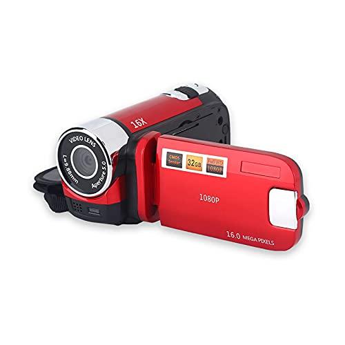 Videocámara digital, Profesión Pantalla de 2,7 pulgadas Full HD Rotación de 270 ° Videocámara de alta definición 16X, Registros de viajes deportivos al aire libre(red, European regulations, Transl)
