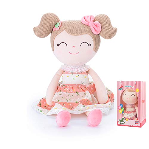 Conzy Stuffed Baby Doll Gifts for Girl Super Soft Buddy Cuddly Baby Girl Toy Gifts wtih Gift Bag 16.5 Inches in Standing (Spring Girl)