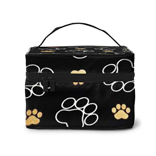 Dog Paw Travel Cosmetic Case Organizer Portable Artist Storage Bag, Multifunction Case Toiletry Bags for Women