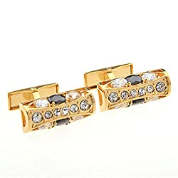 Folk-Custom Rhinestone Diamond Metal Cufflinks