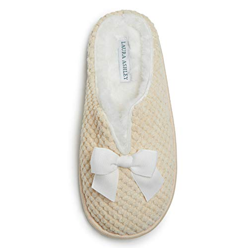 Laura Ashley Women's House Slippers, Ladies' Clog Slides with Plush Fleece Insole, Fluffy Slippers for Indoor, Home Bedroom or Spa, Mother of Pearl, Extra Large