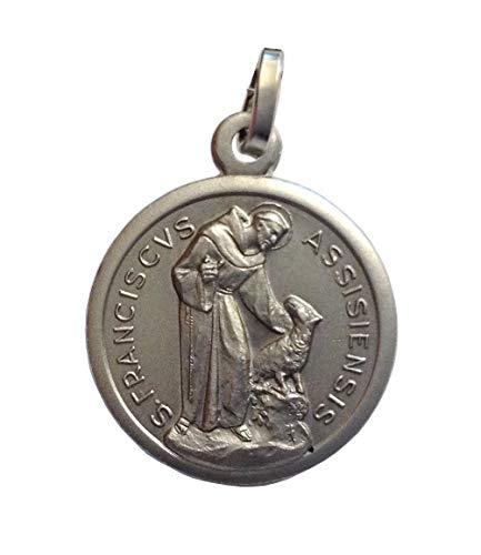 Igj Medaille des Heiligen Franz von Assisi mit dem Wolf in 925 Sterling Silber - Patron von Europa