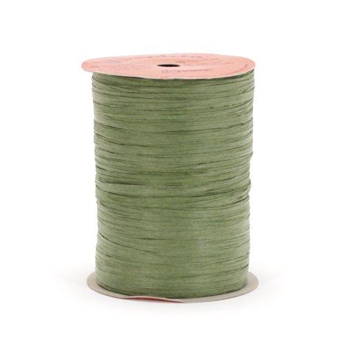 Berwick Offray Matte Olive Green Raffia Ribbon, 1/4'' Wide, 100 Yards