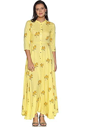 RAJMANDIRFABRICS Women's Rayon Floral Print Long Flared Maxi Dress Gown...