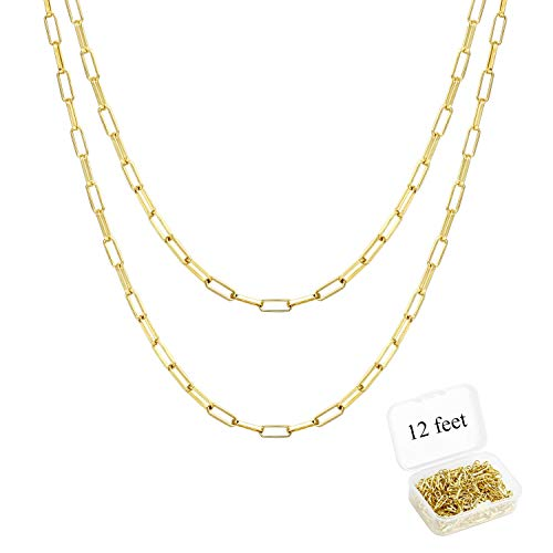 ALEXCRAFT 12 Feet 14K Dainty Gold Plated Brass Paperclip Chain Link Necklace Bulk for Jewelry Making