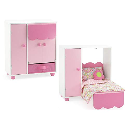 Emily Rose 18 Inch Doll Furniture | All in One Space Saving Murphy Doll Bed with Doll Closet and Doll Clothes Storage Bin | Compatible with 18' American Girl and Similar Dolls