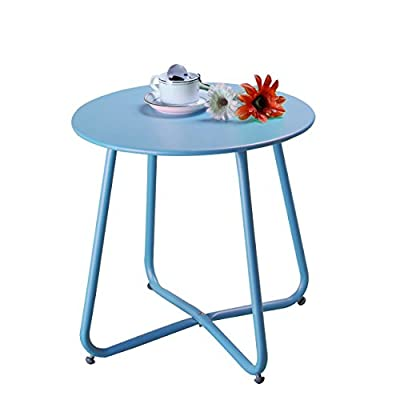 Grand Patio Steel Patio Side Table, Weather Resistant Outdoor Round End Table, Blue