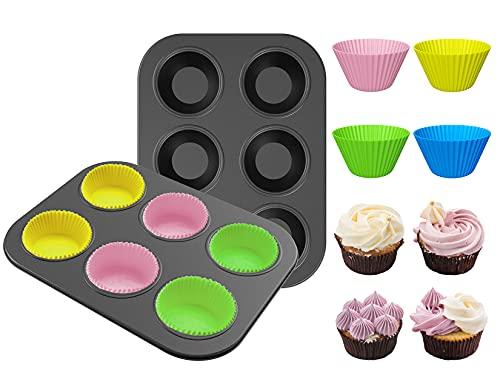 2 teglia da Forno Antiaderente in Acciaio al Carbonio , 12 Colorful Silicone Baking Cupsper Muffin, in Silicone, per Cupcake, Panini, Muffin, Snack, Gelatine