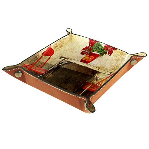 Kntiline Bandeja de Valet, Organizador de Escritorio, Caja de Almacenamiento, Cuero, Mesa de Metal Oxidado, Silla roja, Bandeja de Recogida para Uso doméstico