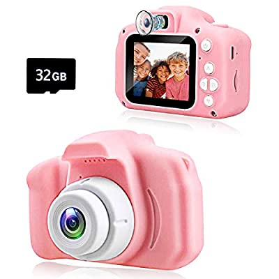 KAWELON Kids Camera, Best Birthday Gifts for 3 4 5 6 7 8 Year Old Girls Boys, Upgraded 20MP HD Digital Video Children Selfie Cameras, Portable Toys for Kids Ages 3-9, with 32GB SD Card-Pink