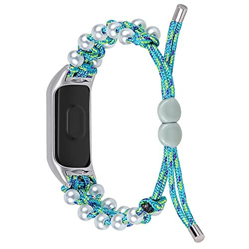 MI BAND 6 5 4 3 NFC Pulsera inteligente reemplazo pulsera trenza cuerda perla mujer pulsera correa reloj de reloj (Color : Blue, Size : For mi band 4)