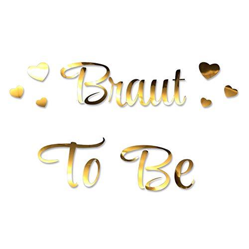Oblique Unique® Bügelbild für JGA Junggesellinnenabschied Hochzeit - Braut to Be - Team Braut - Braut Crew + Herzen Bilder zum Aufbügeln - Motiv wählbar (Braut to Be)
