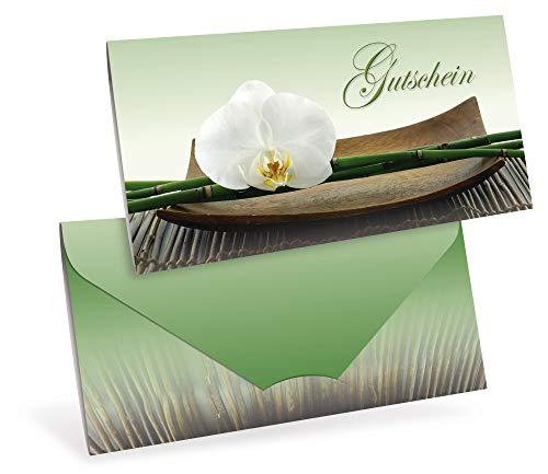 Gutscheinkarten (10 Stück) - Geschenkgutscheine für Wellness, Yoga, Thai-Massage - DIN lang Faltkarte verschließbar, blanko Vordruck zum Eintragen der Werte