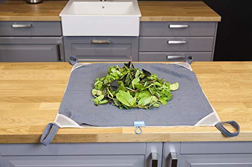 Tomorrow's Kitchen Trapo escurre y Guarda ensaladas, Tela, Blanco Gris, 53 cm