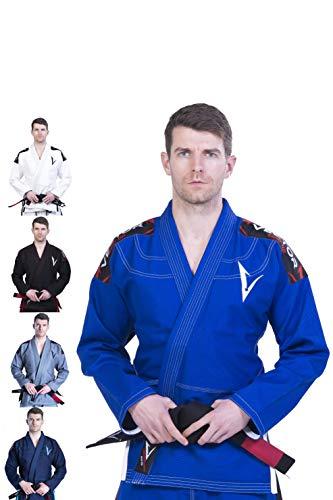 Kimono Vector Attila Series de Jiu Jitsu con cinturón blanco, ligero, 100% algodón, A3, Azul